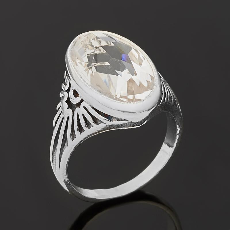 Кольцо горный хрусталь Бразилия (серебро 925 пр. оксидир.) огранка размер 18