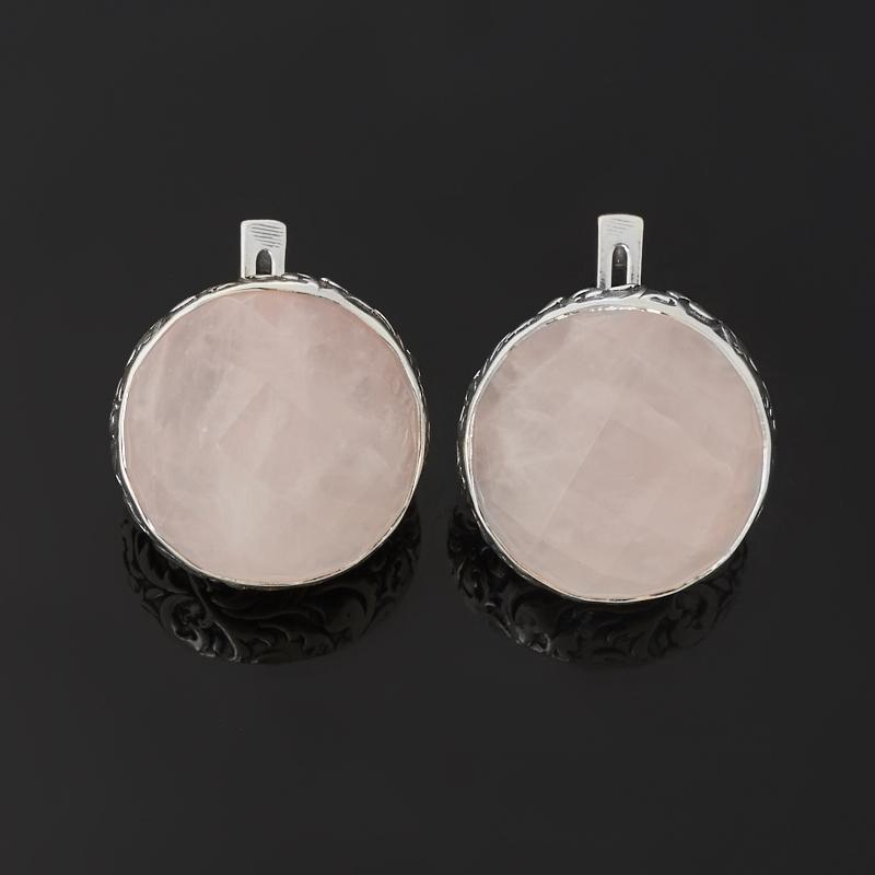 Серьги розовый кварц Бразилия (серебро 925 пр. оксидир.) огранка