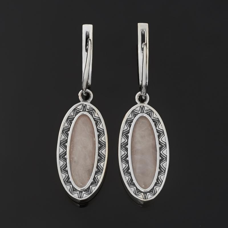 Серьги розовый кварц Бразилия (серебро 925 пр. оксидир.)