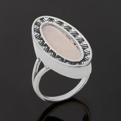 Кольцо розовый кварц Бразилия (серебро 925 пр. оксидир.) размер 17