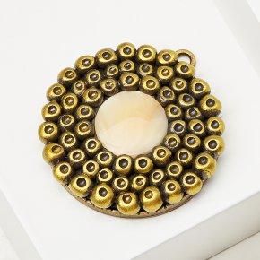 Кулон перламутр бежевый Индонезия (биж. сплав, глина полимерная) круг 4 см