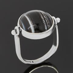 Кольцо агат черный Бразилия (серебро 925 пр. оксидир.) размер 18