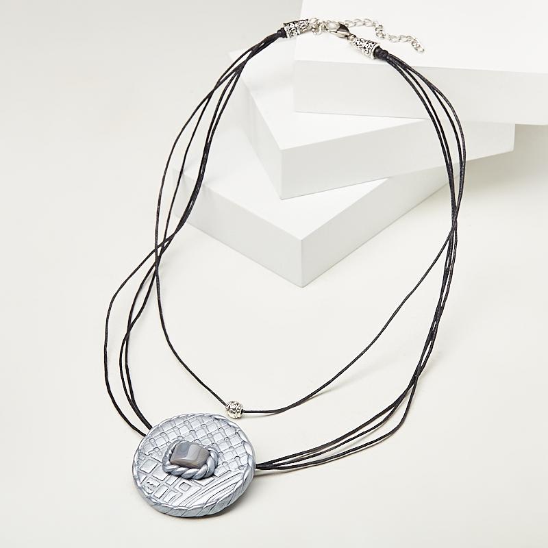 Кулон агат серый (биж. сплав, сталь хир., глина полимерная, текстиль)
