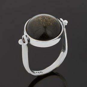 Кольцо обсидиан золотистый Мексика (серебро 925 пр. оксидир.) размер 18