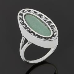 Кольцо авантюрин зеленый Индия (серебро 925 пр. оксидир.) размер 18