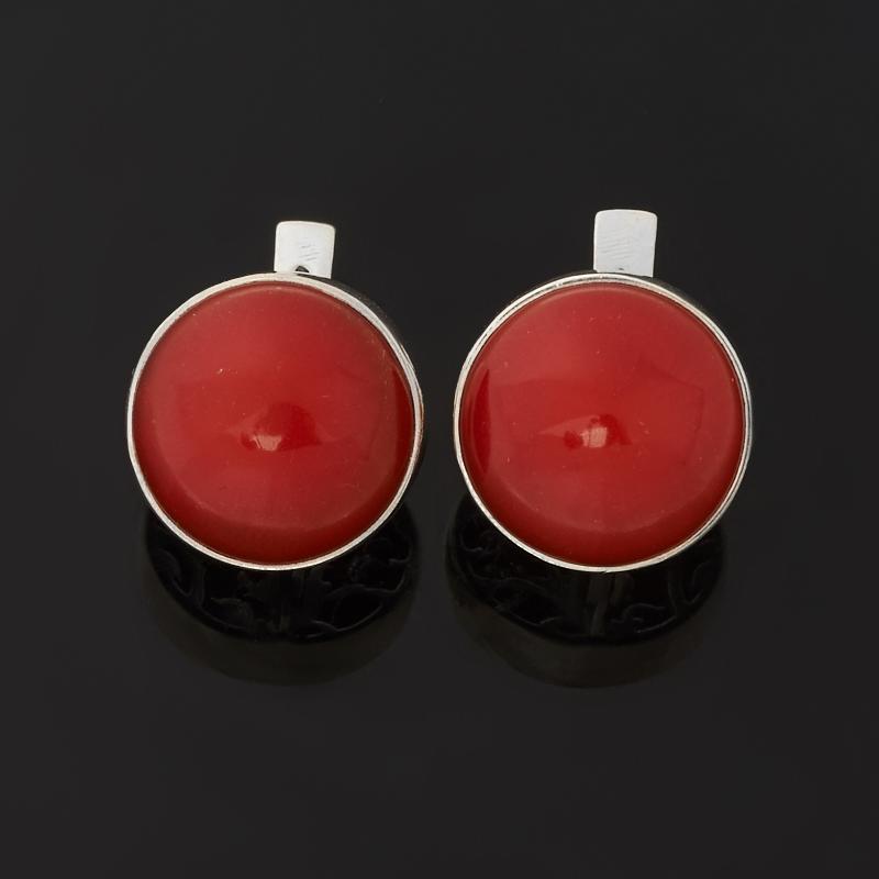 Серьги коралл красный (серебро 925 пр. оксидир.)