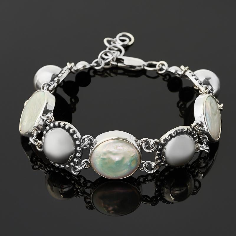 Браслет жемчуг барокко белый (серебро 925 пр. оксидир.) 19 см (+2 см)