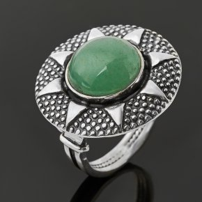 Кольцо авантюрин зеленый Индия (серебро 925 пр. оксидир.) размер 17,5
