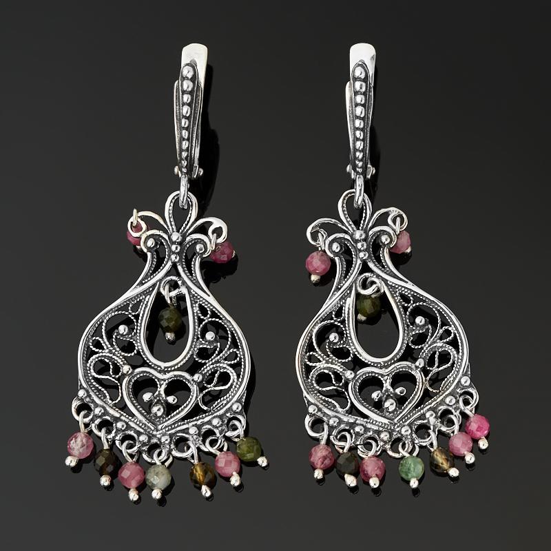 Серьги турмалин зеленый (верделит), розовый (рубеллит) (серебро 925 пр. оксидир.) огранка
