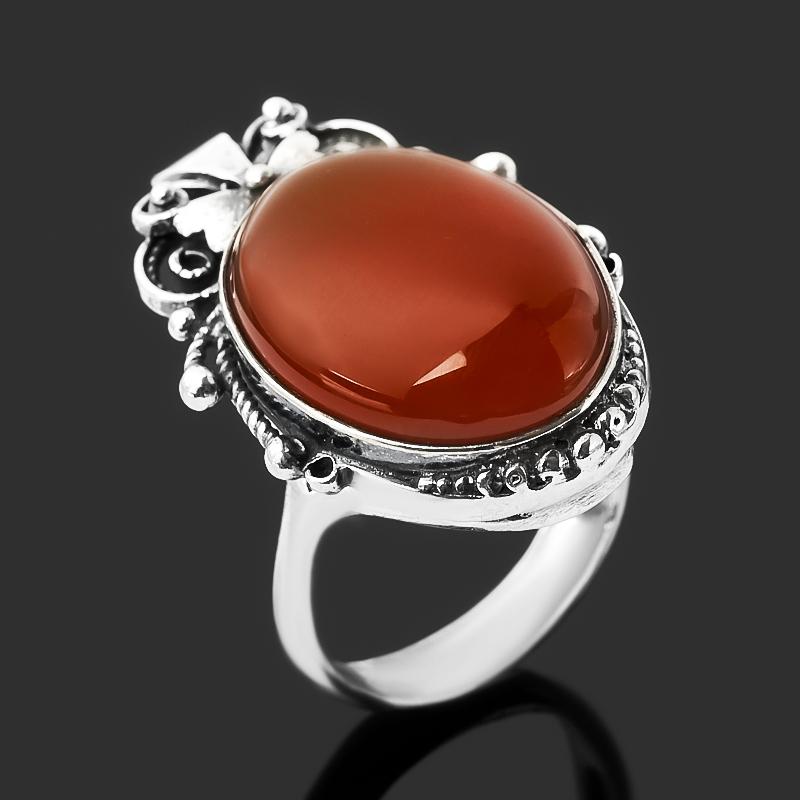 Кольцо сердолик (серебро 925 пр. оксидир.) размер 18