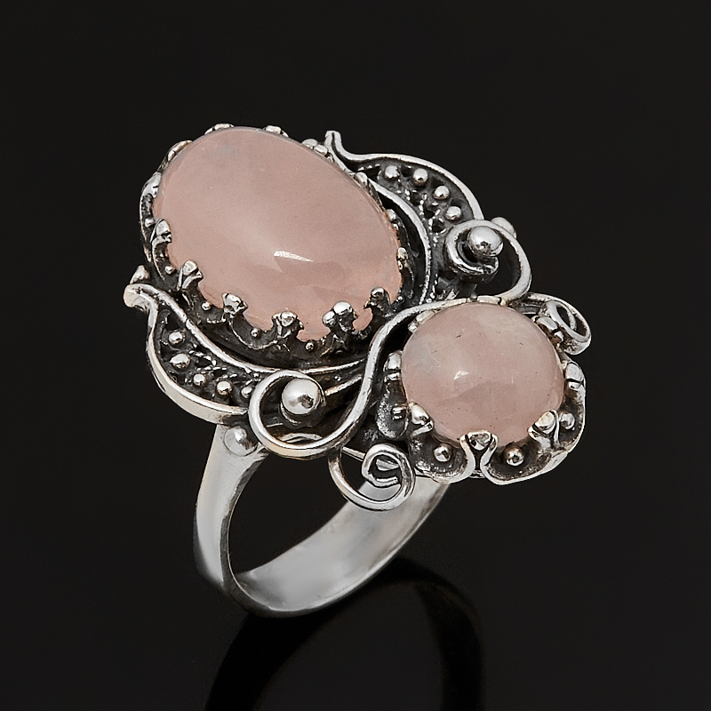 Кольцо розовый кварц  (серебро 925 пр. оксидир.) размер 17,5