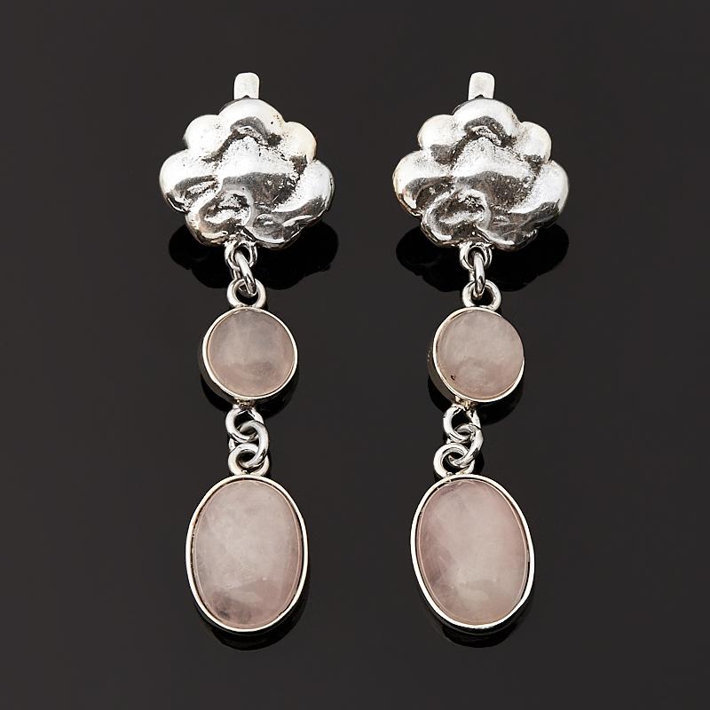 Серьги розовый кварц (серебро 925 пр. оксидир.)