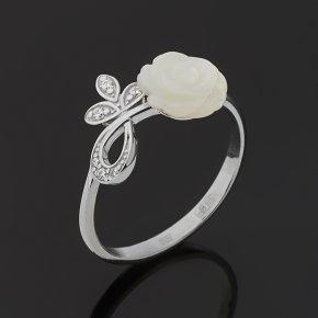 Кольцо перламутр белый Индонезия (серебро 925 пр.) размер 17