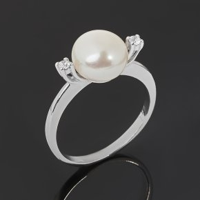 Кольцо жемчуг белый Гонконг (серебро 925 пр. родир. бел.) размер 17,5