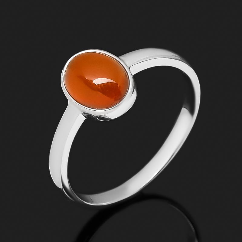 Кольцо сердолик (серебро 925 пр. родир. бел.) размер 16,5