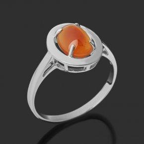 Кольцо сердолик Бразилия (серебро 925 пр. родир. бел.) размер 17