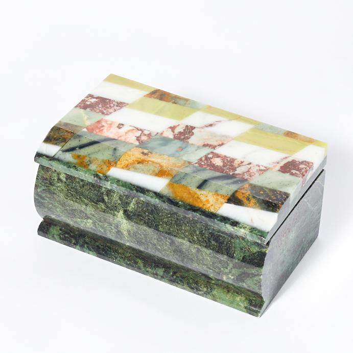 Шкатулка микс змеевик, офиокальцит, яшма 12х7х5,5 см