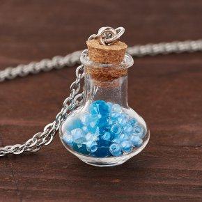 Кулон апатит синий Бразилия (биж. сплав, стекло) бутылочка 2,5 см