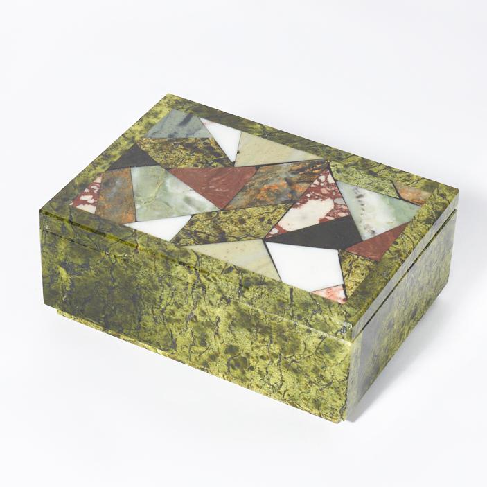 Шкатулка микс змеевик, офиокальцит, яшма 13х9,5х5 см