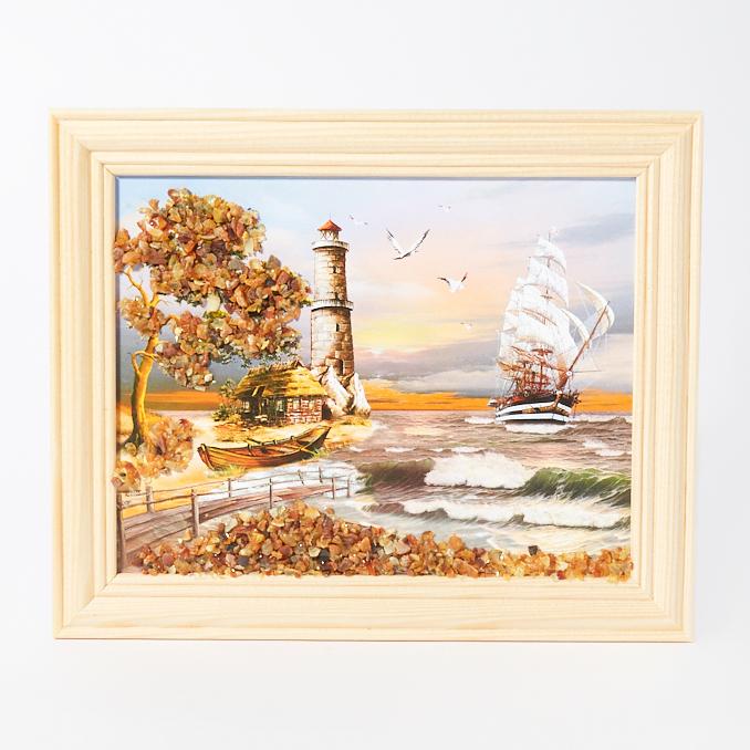 Картина Море янтарь 14х17 см