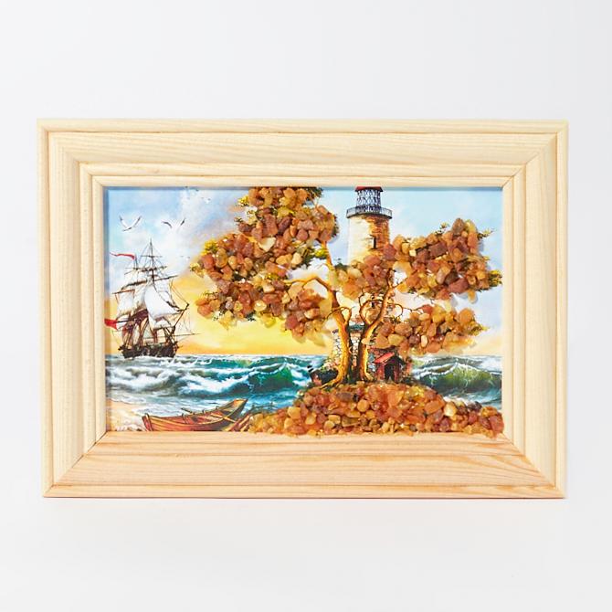 Картина Море янтарь Россия 10х14 см