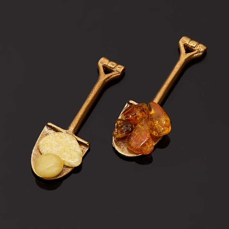 Денежный талисман янтарь Россия (биж. сплав) (ложка-загребушка)