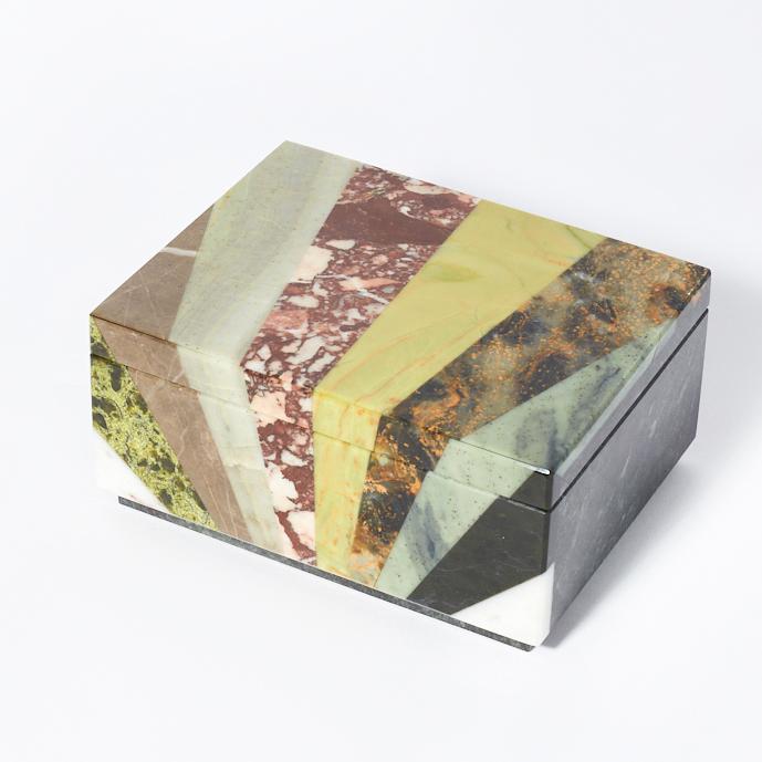 Шкатулка микс змеевик, офиокальцит, яшма 12,5х9,5х6 см