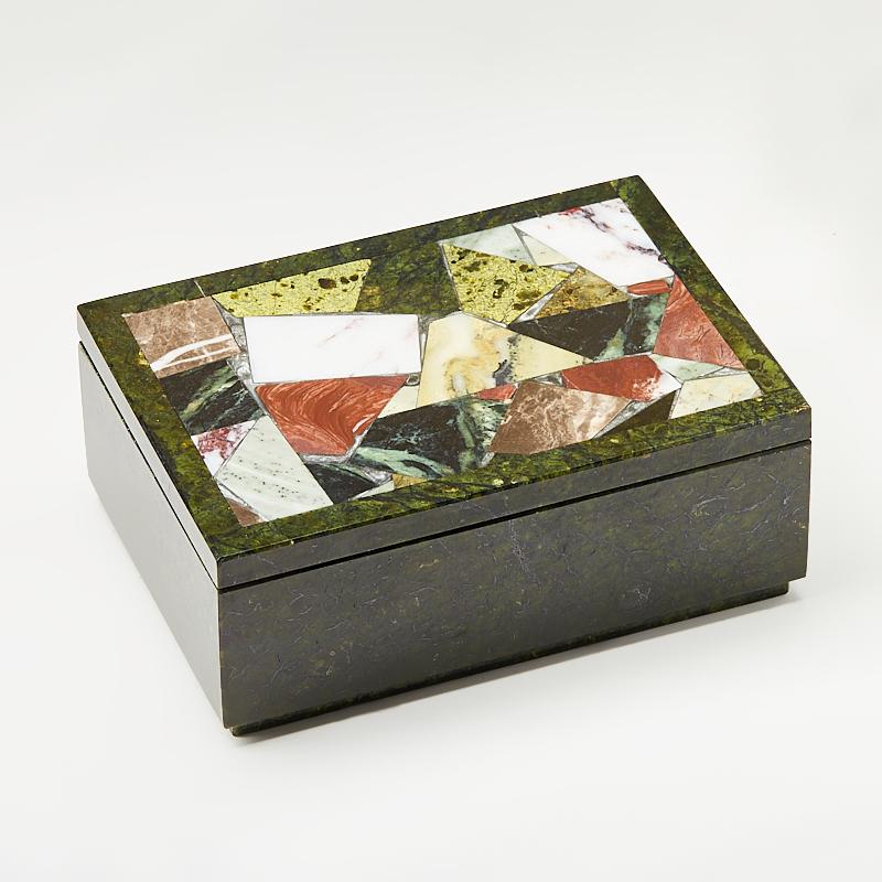 Шкатулка микс змеевик, офиокальцит, яшма 16х11,5х6,5 см