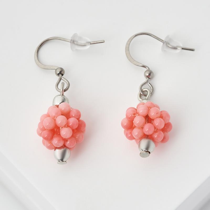 Серьги коралл розовый (биж. сплав, сталь хир.)