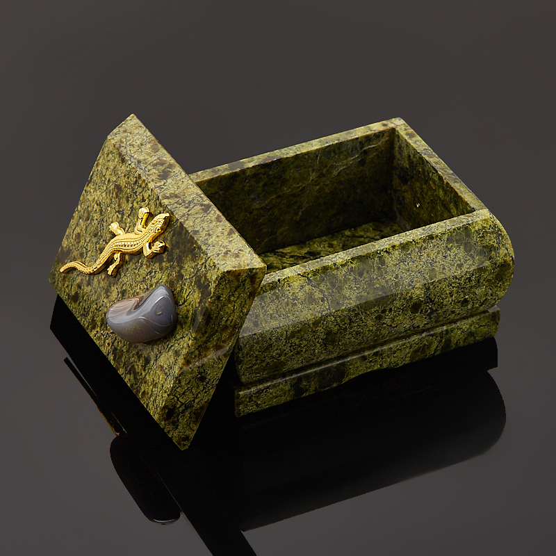 Шкатулка змеевик Россия 8,5х6,5х6 см