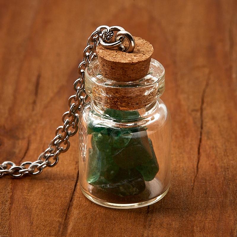 цена на Кулон авантюрин зеленый (биж. сплав, сталь хир., стекло) бутылочка 2,5 см