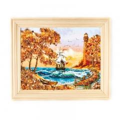 Картина Море янтарь Россия 14х17 см
