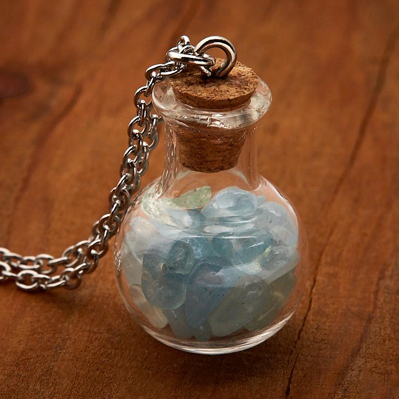 Кулон аквамарин (биж. сплав, сталь хир., стекло) бутылочка 3 см