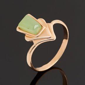 Кольцо нефрит зеленый Россия (серебро 925 пр. позолота) размер 16,5