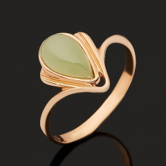 Кольцо нефрит зеленый Россия (серебро 925 пр. позолота) размер 17,5