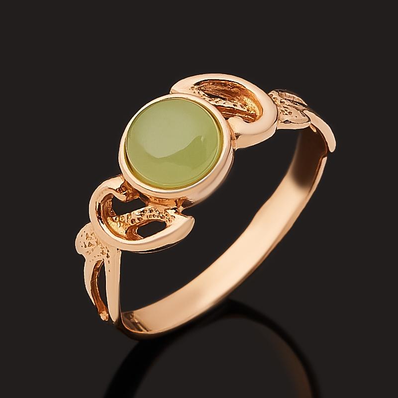 Кольцо нефрит зеленый Россия (серебро 925 пр. позолота) размер 19,5