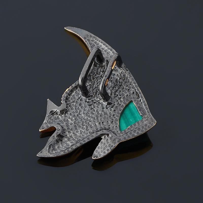 Кулон малахит Конго (серебро 925 пр. позолота, родир. черн.) рыба