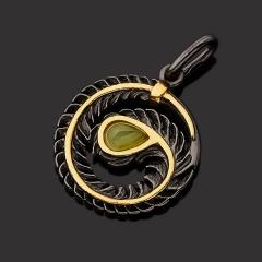 Кулон нефрит зеленый Россия (серебро 925 пр. позолота, родир. черн.) круг
