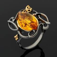 Кольцо янтарь Россия (серебро 925 пр. позолота, родир. черн.) размер 17