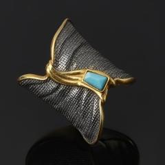 Кольцо бирюза Тибет (серебро 925 пр. позолота, родир. черн.) размер 17,5