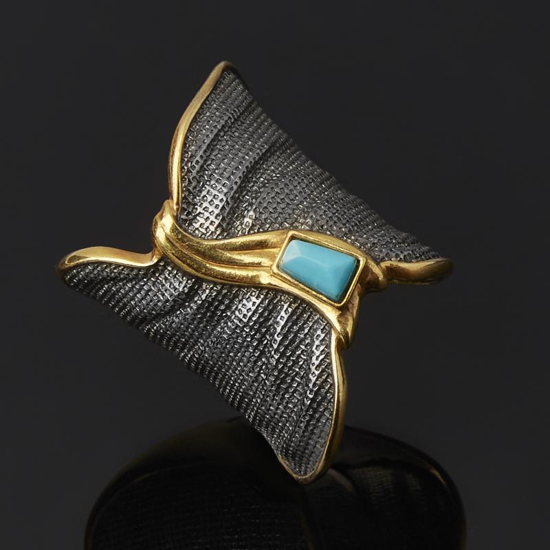 Кольцо бирюза Тибет (серебро 925 пр. позолота, родир. черн.) размер 19,5