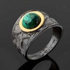 Кольцо малахит Конго (серебро 925 пр. позолота, родир. черн.) размер 18,5