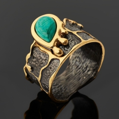 Кольцо малахит Конго (серебро 925 пр. позолота, родир. черн.) размер 17,5