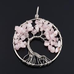 Кулон розовый кварц Бразилия (биж. сплав) круг 6 см