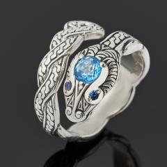 Кольцо топаз голубой Бразилия (серебро 925 пр. оксидир.) огранка (регулируемый) размер 18