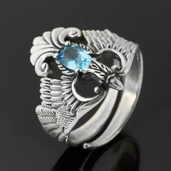 Кольцо топаз голубой Бразилия огранка (серебро 925 пр. оксидир.) размер 18,5 (регулируемый)