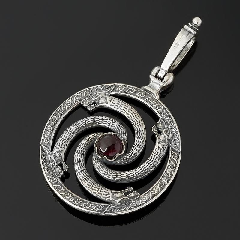 Кулон гранат альмандин Индия (серебро 925 пр. оксидир.) круг