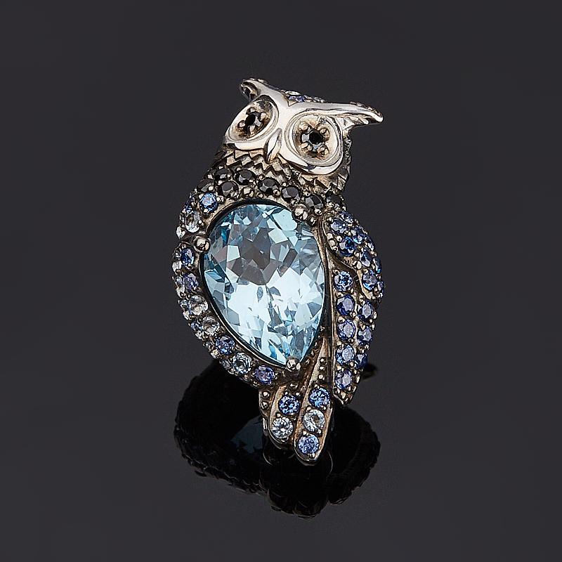 Брошь топаз голубой (серебро 925 пр. оксидир.) огранка