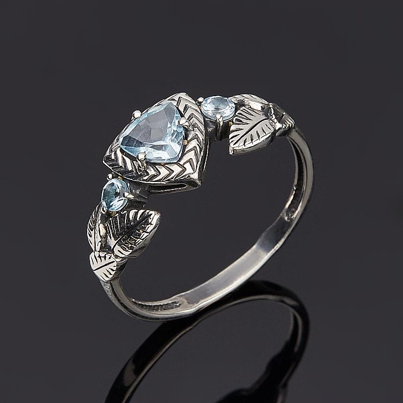 Кольцо топаз голубой (серебро 925 пр. оксидир.) огранка размер 17,5