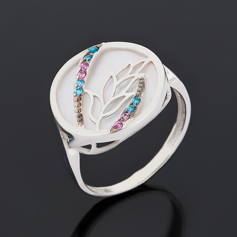 Кольцо перламутр розовый (серебро 925 пр. родир. бел., родир. черн.) размер 17,5 недорого